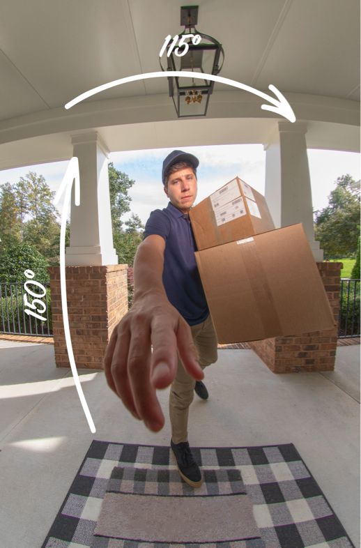 video doorbell camera view with delivery man