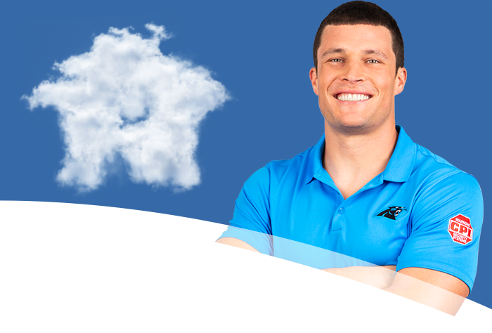 Luke banner with clouds in the background