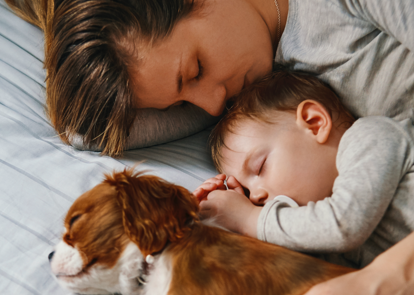 mom, baby, and dog napping together