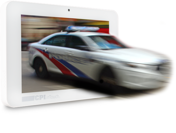 3D police car emerging out of a smart panel device