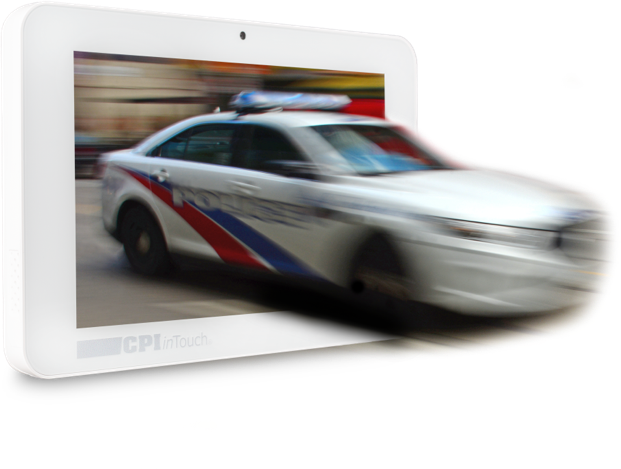 3D rendering of cop car coming out of a tablet screen